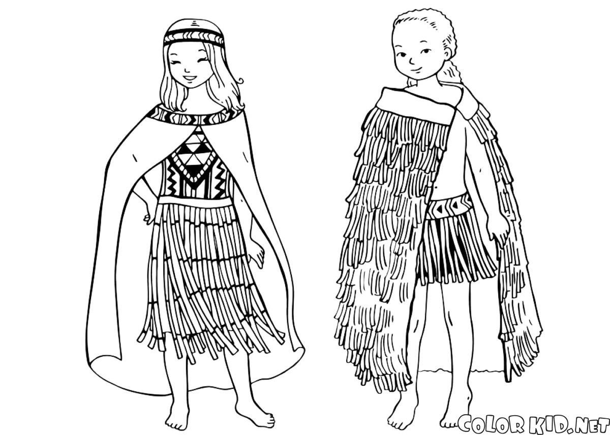 Дети в национальных костюмах раскраска