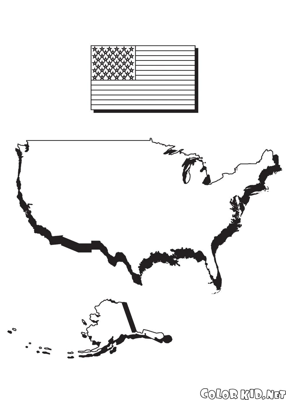 Карта Америки и флаг