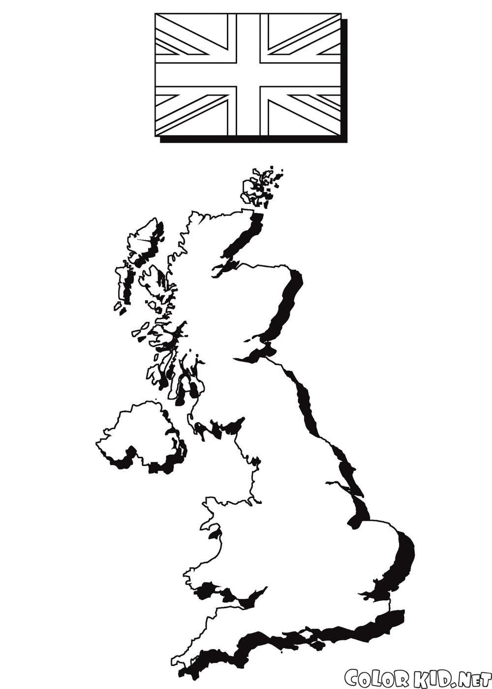 Карта Англии и флаг